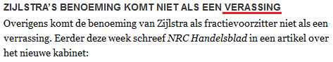 NRC: geen verassing